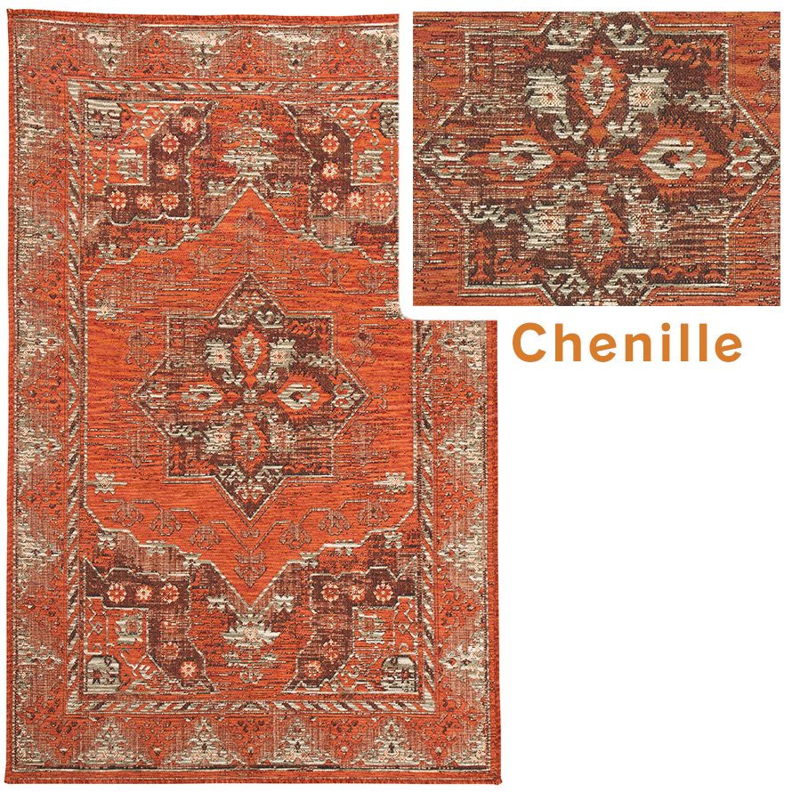 Chenille rug with Moroccan patterns