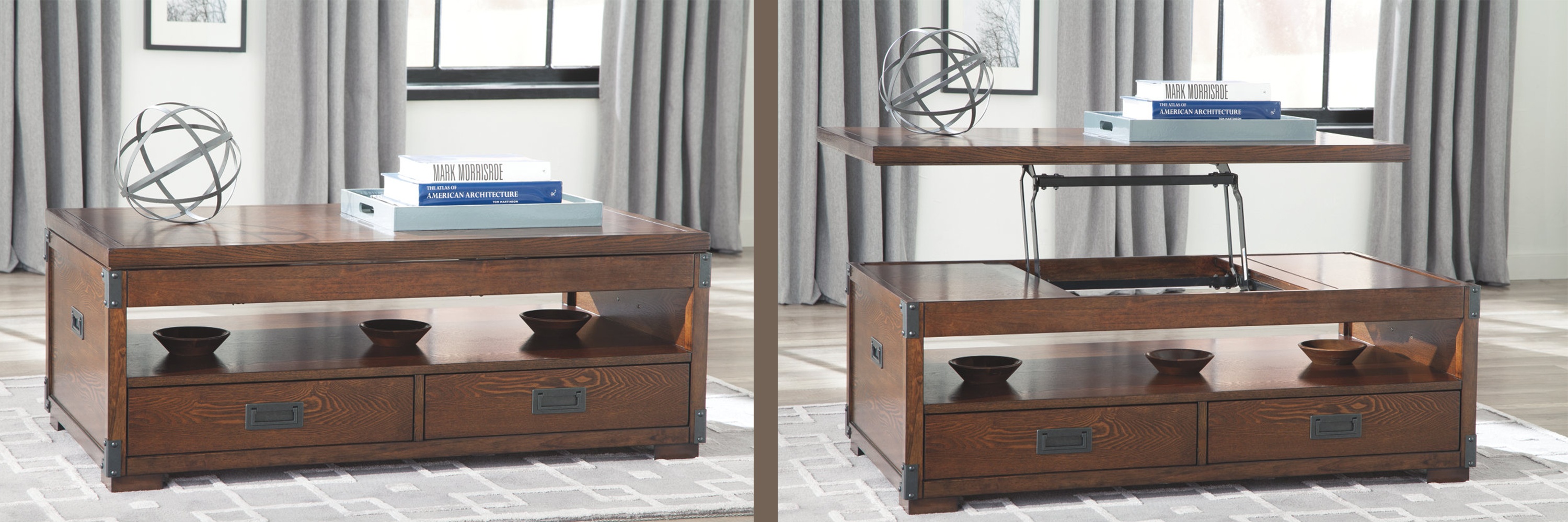 two images of the lift top coffee table, one image shows it opened and the other shows it closed.