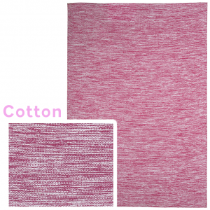 Pink cotton rug with white and pink colors meshed together.