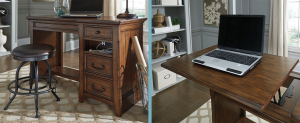 Brown wooden industrial desk with drawers and lift top function for your computer and charging abilities.