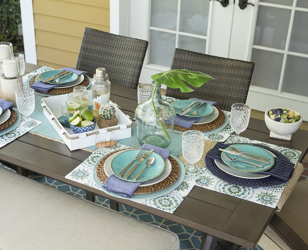 Outdoor table setting with coastal decor for summer