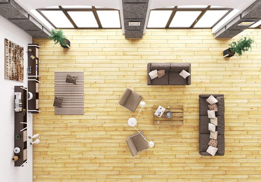 Top view of modern living room interior with sofa and armchairs 3d render