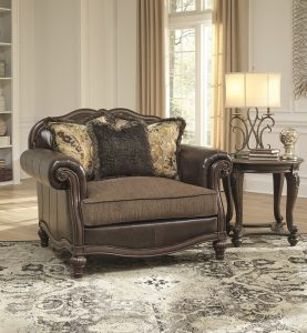 Leather elegant chair staged with classic decor.