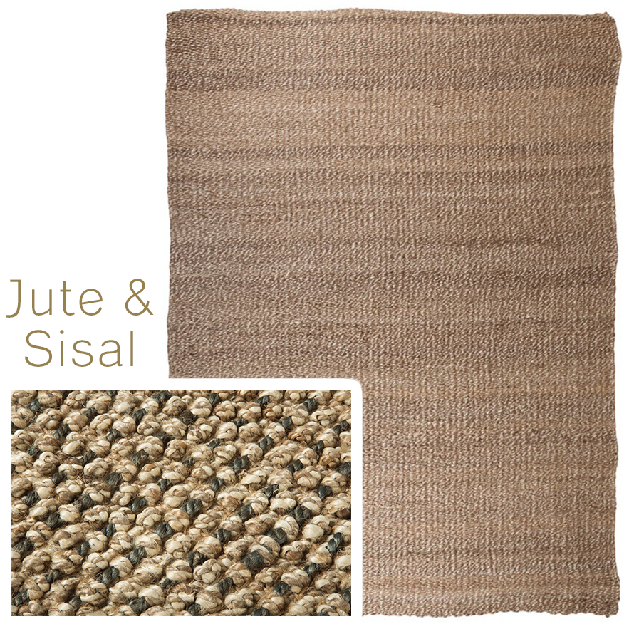 Jute rug and a jute rug closeup showing the hand woven materials in detail.