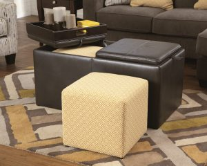 multifunctional ottoman with additional sitting cubes and flip top cushions convert to trays