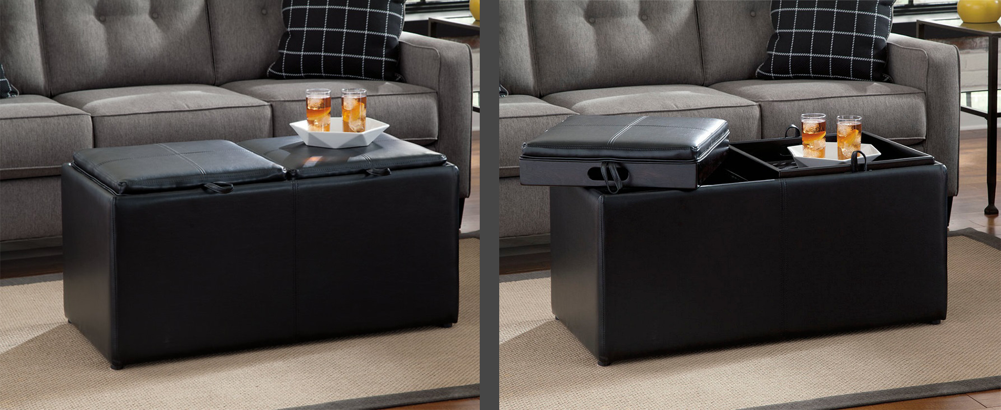 two images of a black ottoman shown with stroage unit closed and other image shown with the storage unit open.
