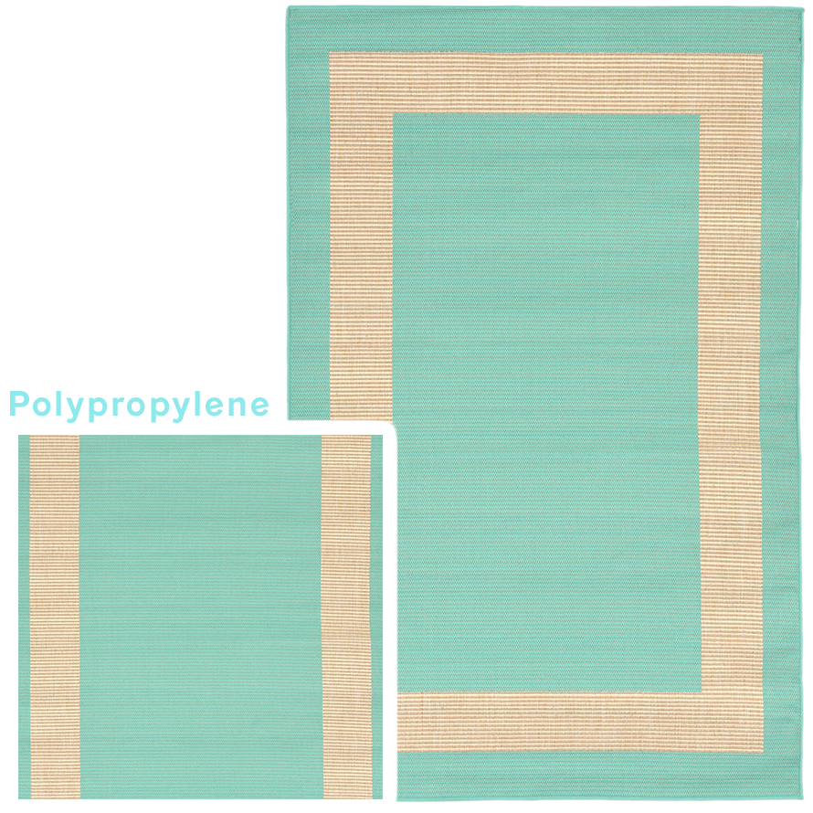 Polypropylene rug in blue and tan.