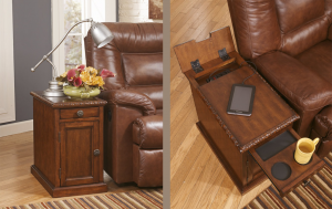 Brown wooden side table with a place to charge the phone and cup holders to hold your drinks