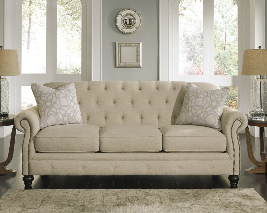Ashley Furniture Tufted Sofa Ashley Alia Tufted Roll Back Sofa Furniture And Mattress Outlet