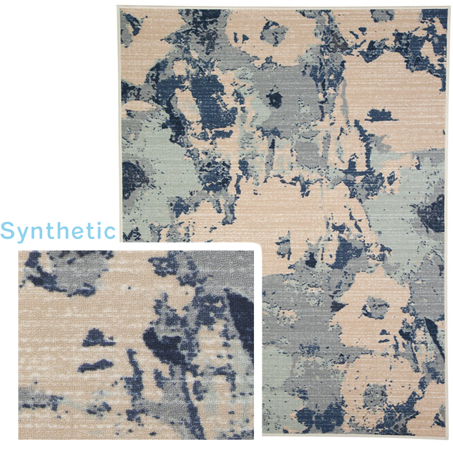 Synthetic rug with blue and tan floral designs.