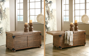 Rustic farmhouse coffee table with storage shown with storage tops closed and shown with it open.