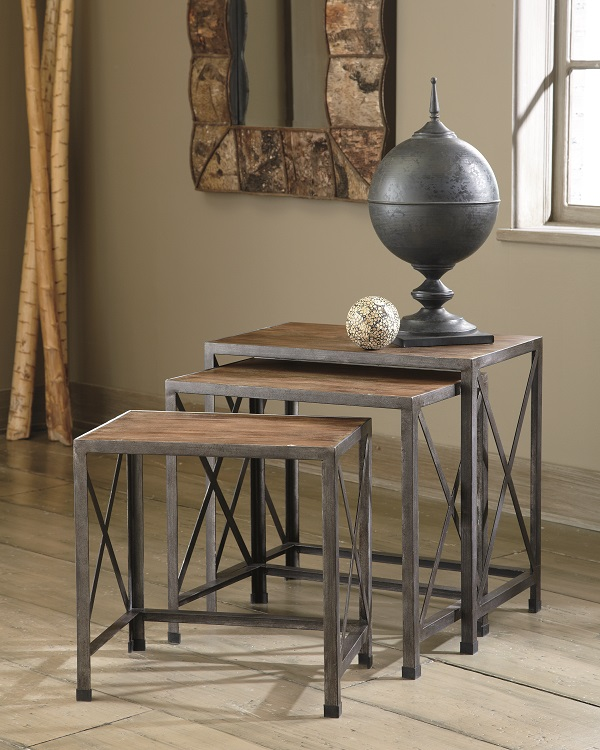 3 brown wooden end table in front of a window with a vase on top