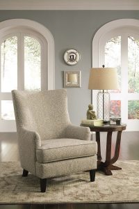 Traditional Scalloped Wingback Chair in Brocade Upholstery
