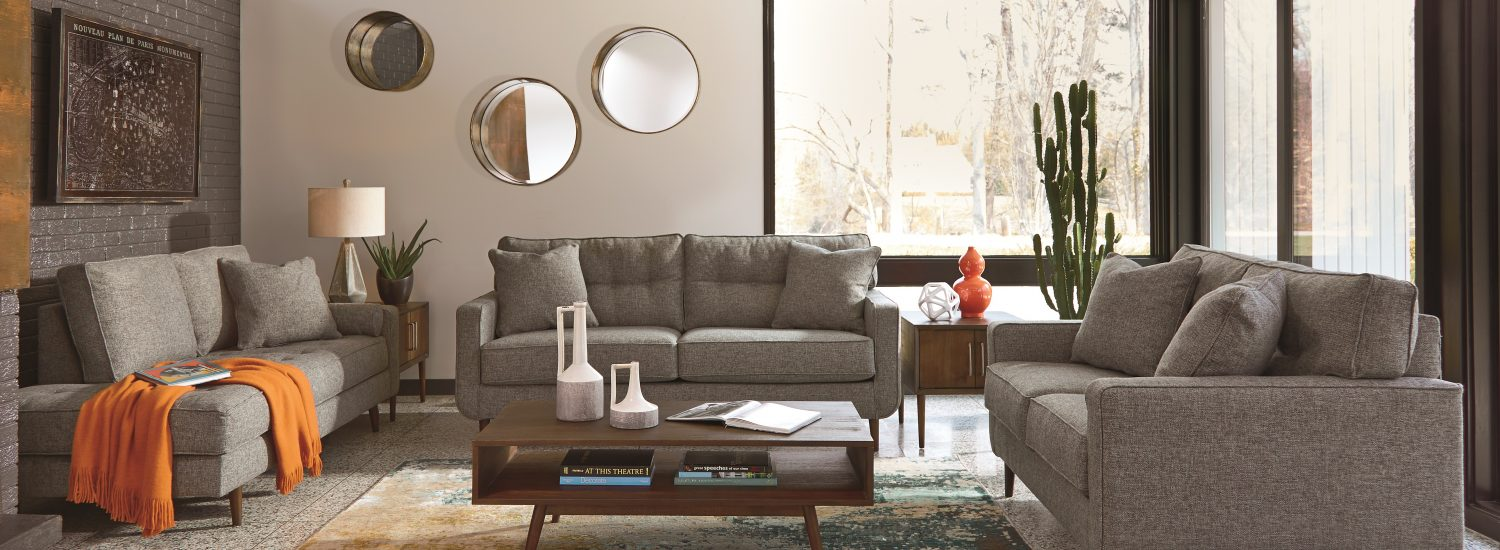 Mid-century zardoni charcoal gray polyester sofa loveseat and chase