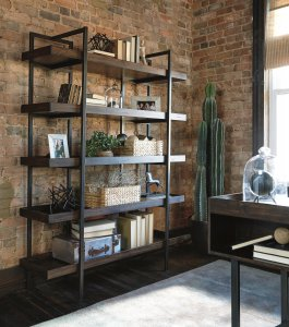 Starmore wood and metal modern rustic large bookcase
