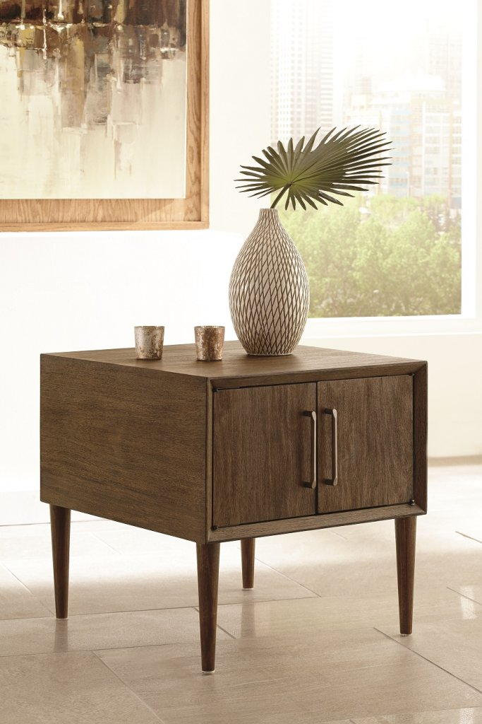 retro inspired end table with vertical pull doors