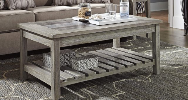 whitewashed wood coffee table