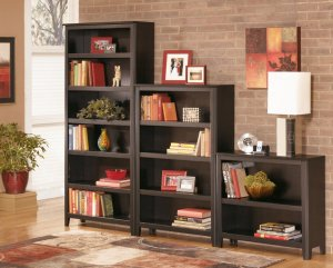 dark brown bookcases with adjustable shelves with books and sculptures organized on the shelves.