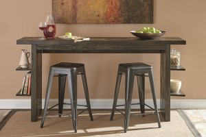 these long counter tables have convenient integrated shelves paired with retro inspired metal bar stools
