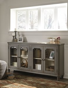 distressed vintage accent cabinet with adjustable storage