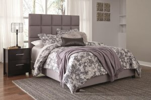 Upholstered queen gray headboard for contemporary bedroom set