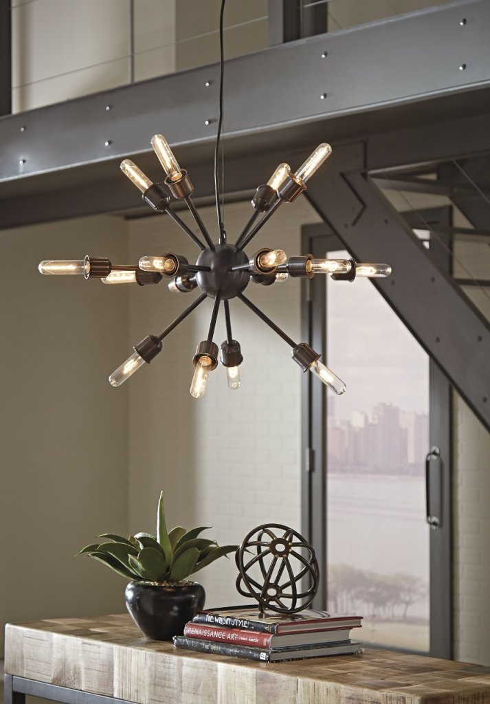 Black industrial and modern light fixture