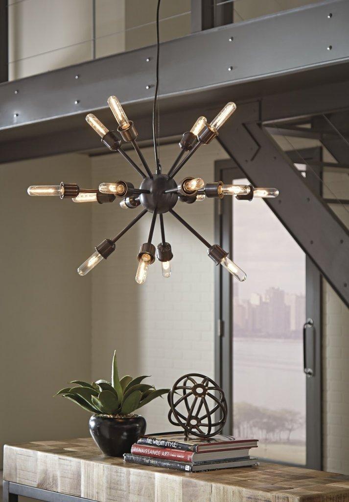 Black industrial and modern light fixture