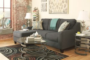 Touch of Retro Flair in the Dark Gray Chaise Sofa