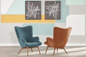 Teal and Orange mid-century modern accent chair