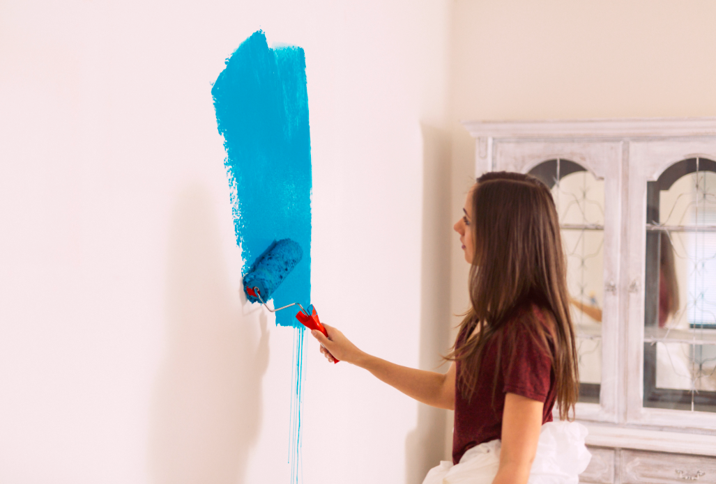 ugly paint color on a bare wall