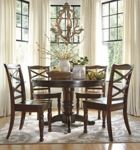 traditional styled round kitchen table and chairs in a deep brown finish
