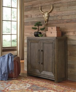 rustic chic accent cabinet with a grayish brown finish