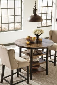 satisfy your vintage modern taste with these round counter height dining tables and upholstered wingback counter stools