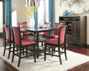 set of Trishelle elegant red faux leather upholstered bar chairs
