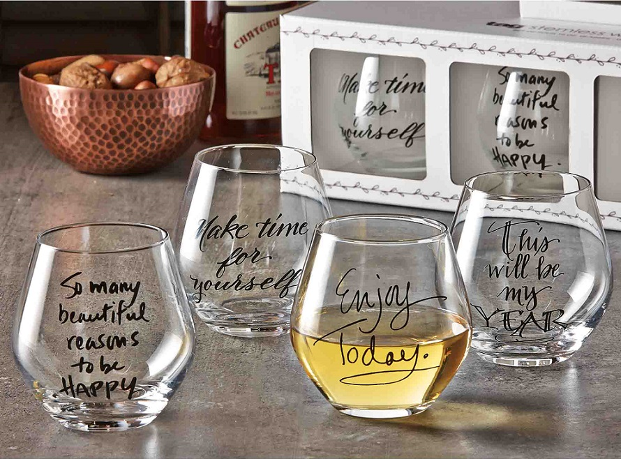 set of four stemless wine glasses with sentimental decals
