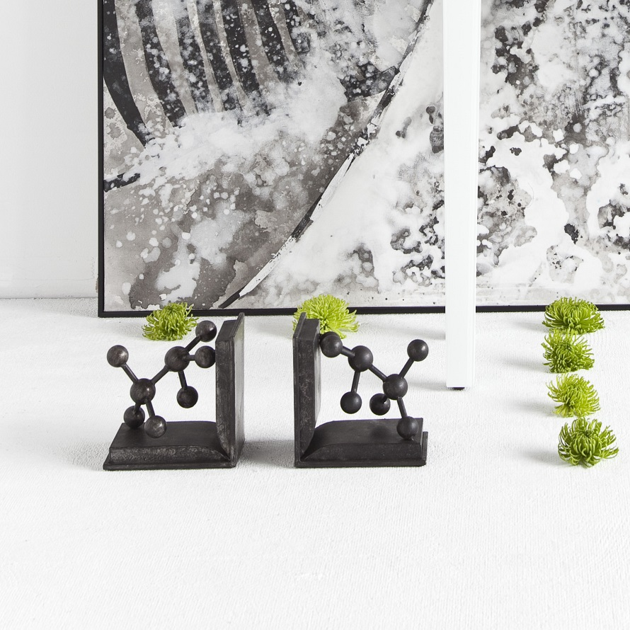 urban chic bookends with greenery decorated around it