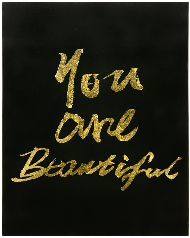 """'""""you are beautiful"""" canvas painting."""