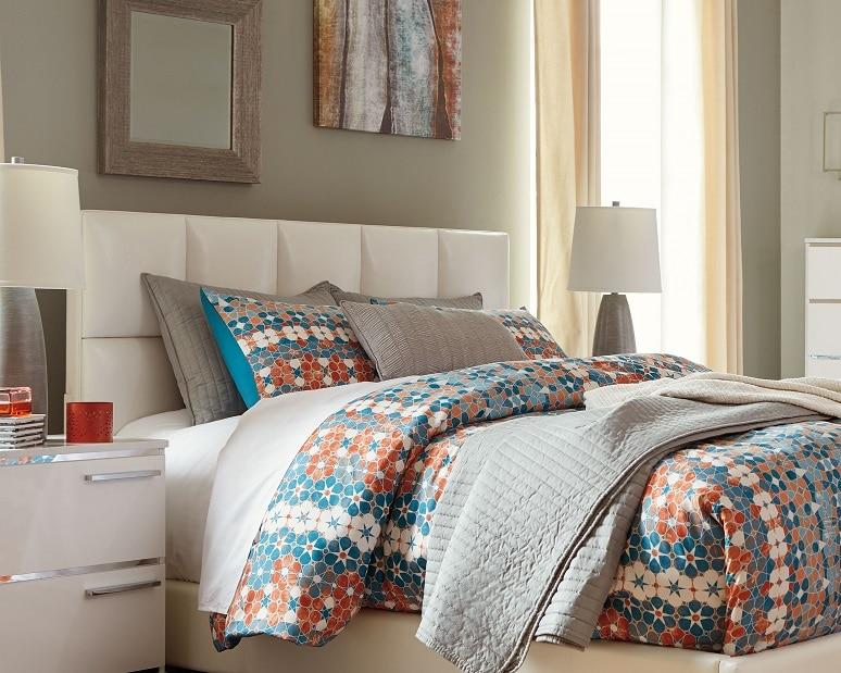 White upholstered bedroom set