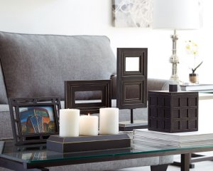 squared tabletop black home decor set includes candle holder and picture frame