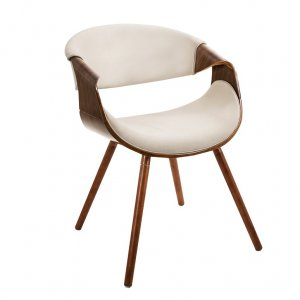 cream curved accent chair