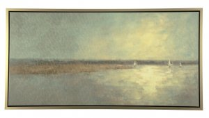 large sailboat waterscape framed canvas painting