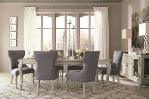 light silver gray extension dining room table and chairs with server buffet