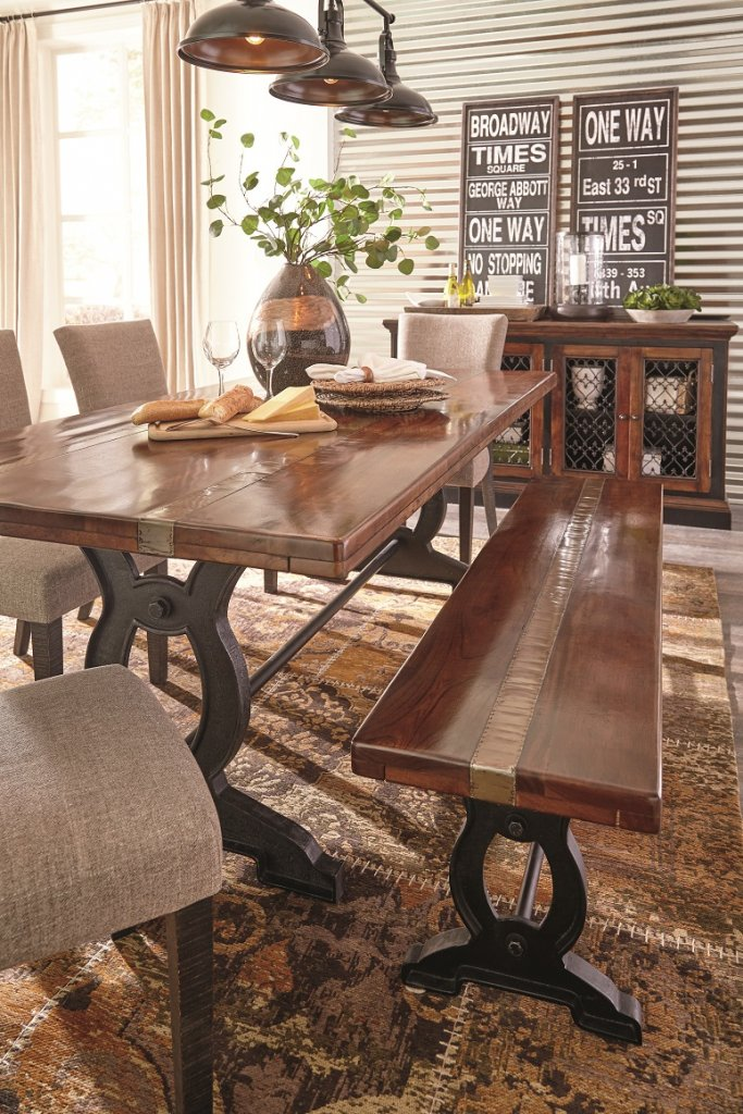 brown urban dining room set with upholstered chairs and server