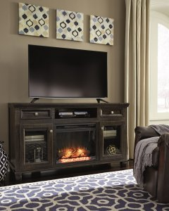 these fireplace media stands are a warm addition to any family room