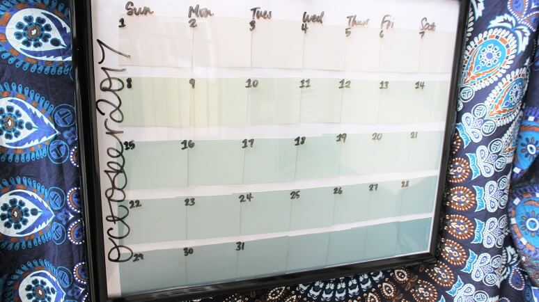 DIY calendar made from paint splotches.