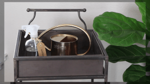 metal bar cart decorated with tea essentials.