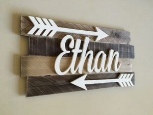 The name ethan on a wooden wall decor above a crib..