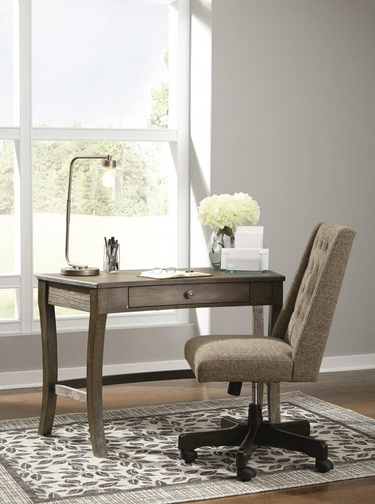 Home office desk and desk chair.