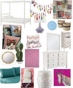 Product collage of a little girls room showing a bed, lighting options and other home accessories.