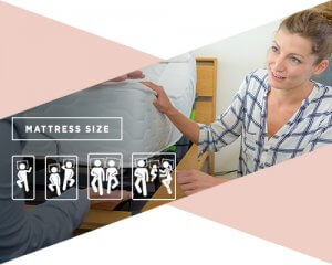 A chart of a woman looking at a mattress for child with the chart speaking to mattress sizes.